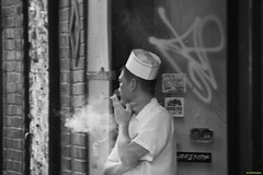 Cigarette break (Fotis Korkokios) Tags: newyorkcity blackandwhite bw newyork work break manhattan cigarette smoke cook smoking ash lowermahattan fostis