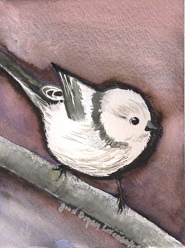 Baby Bushtit - Original Watercolor