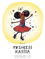 Princess Kassia (Hi Ni) Tags: cute illustration fun princess handmade drawing illustrator preschool birthdaycard fancydress littleprincess blackgirl forkids custommade characterdevelopment carddesign forchildren afrohair charaterdesign afroamericangirl greetingcarddesign nyhagraphics illustratorforhire personalisedart naomicrobinson