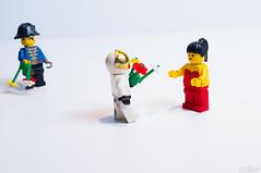 Garr... (ekim89) Tags: flowers white flower macro girl umbrella fun 50mm miniature funny lego pentax mini astronaut pirate legos minifig minifigs strobe pentaxkx f17