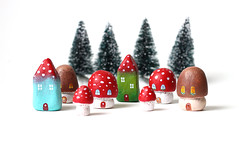 Little mushroom houses (rodi) Tags: red brown white cute green mushroom decoration polkadots clay toadstool littlehouse amaritamuscaria