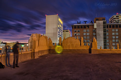 Behind the Scenes On Top of the City Ramp (SimplyAmy74) Tags: nightphotography friends sunset lightpainting history washington nikon spokane downtown historic citylights glowsticks nighttimephotography cityramp