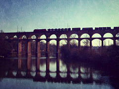 Viadukt (freyavev) Tags: bridge reflection cars texture train river germany deutschland viaduct viadukt enz bissingen bietigheim