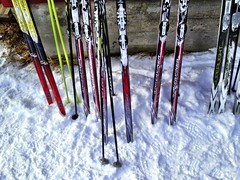 Skis outside cabin (@abrunvoll) Tags: winter ski norway norge vinter akershus photostream bekkestua ullensaker skiforeningen madshus