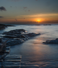 Dying Glow ~ Explored (intrazome) Tags: ocean longexposure sunset red sea england orange cloud beach nature water beautiful weather clouds landscape diy nikon cornwall waves coastcoastline d5100