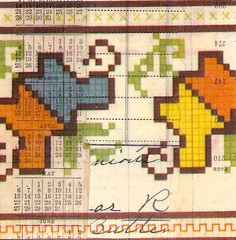 pattern-butter (kurberry) Tags: collage crossstitch ephemera tissuepaper tracingpaper magazinepages bookpages vintageephemera bookbindingteam