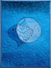 Moon and Fish (Olga Kuba) Tags: blue moon white fish abstract art motif thread star design pattern quilt sewing postcard craft wave fabric scales glowing swirls concept machinequilting freemotionquilting fmq