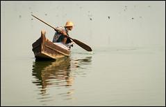 Gone Fishing (Waldemar*) Tags: lake reflection water work boat fishing fisherman nikon asia southeastasia burma ngc paddle explore myanmar nationalgeographic fishingnet amarapura explored laketaungthaman afs70200mmf28gvrii mandalayregion d800e