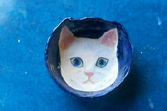White Cat Face Bowl by Sharon (Chipmunk Hill Arts) Tags: original art ceramics handmade clay handpainted studentwork allages bloomingtonindiana underglazes lofire chipmunkhill earthenwre