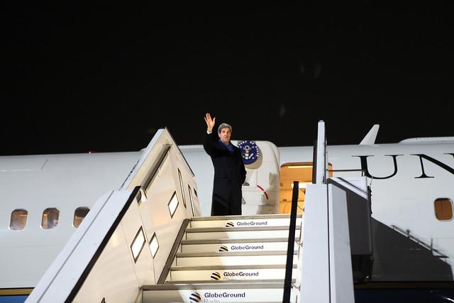 Secretary Kerry departs Berlin Tegel for Paris