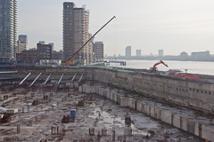 Riverside South (Gary Kinsman) Tags: london thames skyline architecture river concrete construction view hole crane empty large vista docklands canarywharf desolate digger e14 urbanlandscape westferry foundations londonist canon1740mmf4l topographics cascadestower 2013 newtopographics riversidesouth canoneos5dmarkii canon5dmkii