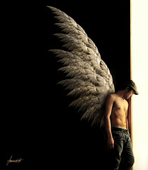 The Archangel: Waiting By Heaven's Door (Tomasito.!) Tags: lighting door light boy selfportrait man cute guy art love sports beautiful hat angel training photoshop self mouth asian nose hongkong fly photo belt amazing ni