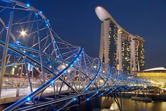 Helix bridge by night #2 (julien. H) Tags: pictures city bridge blue winter light summer color modern night marina mall landscape hotel bay photo spring singapore colorful asia cityscape market photos d centre central picture n center double clear dna pont singapour asie helix sands scape ville adn colore