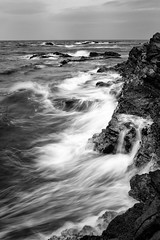 The Coastline Melt (arcreyes [-ratamahatta-]) Tags: blackandwhite japan coast spring day waves cloudy fineart windy coastline peninsula kanagawa crashing miura jogashima 2013 kanagawaprefecture arcreyes