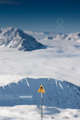 Danger (arturii!) Tags: trip travel blue winter wild sky snow ski france mountains alps cold nature beauty yellow fog danger alpes wow landscape amazing nice holidays europa europe tour superb awesome great frana sunny clear route skiresort valley stunning summit viatge signal vacations impressive gettyimages alpedhuez tiltshift rhonealpes interetsing canonoes400d arturii tilteffect arturdebattk