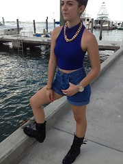 90's Cool Cat Casual (Nikki   Acosta) Tags: white black colors fashion gold grunge formal funky womens chain pastels heels denim casual easy trend simple plain 90s leggings bandeau combatboots shoulderpads effortless metallics popsofcolor
