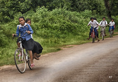 Cambodia -   Siem Reap - back from school (Rui Trancoso) Tags: cambodia siem reap girls boys school bike countryside