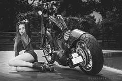 Kustom Bike & Gramisia Chopper (gabri.R) Tags: fashion fashionportrait portrait model moda strobist flash speedlights speedlite beauty outdoor outdoorportrait ritratto ritrattomoda femalemodel female modella kustom kustombike gramisia chopper gramisiachopper custombike piscina swimmingpool