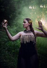 Apple of Discord: Athena (Arianna Ceccarelli Photography) Tags: conceptual fineart colors green gold black athena greek myth apple dark surreal fantasy photography photographer model stylist dress chains elegant makeup makeupartist wings rich portrait girl woman people nikon
