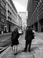 Waiting (Florian Btow) Tags: london uk england city street architecture urban photography cityscape building sky europe 35mm standing man women back perspective black white monochrome waiting business people