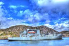 USNS Robert E. Peary with Signal Hill in background. (Ross A Craig) Tags: stjohnsnewfoundland canadian navy united states hmcs fredericton athabaskan signal hill