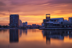 Sunrise over the Lowry Theatre, Salford Quays (G-WWBB) Tags: sunrise lowrysalfordquays lowrytheatre nv nvbuildings nvbuildingssalfordquays northbay eriebasin salfordquays redsky orangesky reflections reflect waterfront water warmskies