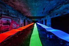 Technicolor tunnel (John Getchel Photography) Tags: abandoned detroit graffiti led rgb decay ledlight lightpainting longexposure tunnel urbex