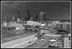 City skyline looking northeast from Tate Modern open viewing platform. (jim_2wilson) Tags: london jimwilson bw walkietalkie cheesegrater tatemodern dxoopticspro sonya77 tamron2875mmf28