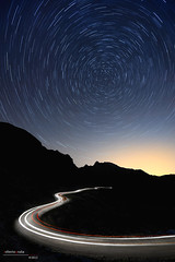 Night Trip (Roberto Graa) Tags: road mountain night puerto carretera trails asturias lena le estrellas nocturna montaa startrails circumpolar cubilla trazas