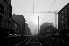 [Modern western] (ez90) Tags: white black france fog train canon movie french blackwhite mood noiretblanc crane mark tram rail pylon ii 5d brouillard grue fogy