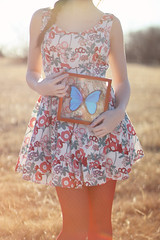 The Study and Preservation of Purity (Megan Ashley-Rose) Tags: sunset red portrait floral sunshine butterfly flora dress portraiture brunette goldenhour braid sunflare floraldress sunglare bluebutterfly bluemorphos facelessportrait canonography