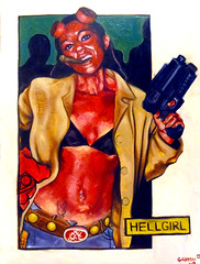 Hellgirl (joegranskiart) Tags: portrait woman art girl pose comics painting costume paint gun comic dragon cosplay hell joe portraiture disguise comicbook figure oil impressionism cosplayer hellboy con dragoncon oilpaint hellgirl naturalism joegranski granski figurtitive