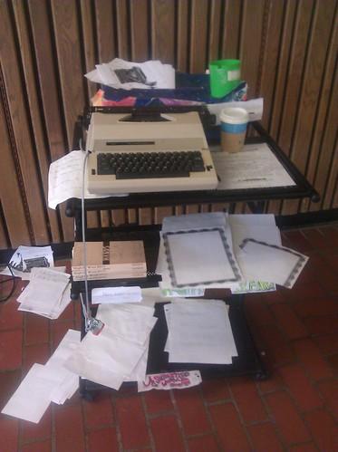 typewriter in the library atrium