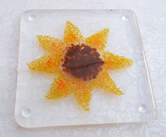 Sunflower Coaster Clear (Glittering Prize - Trudi) Tags: red glass yellow sunflower coaster fused britcraft britishcrafters