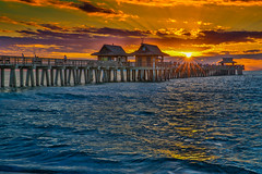 Naples Sunset (Bill Varney) Tags: ocean sunset color water canon coast pier gulf florida naples billvarney