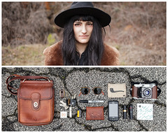 Mattiel Diptych (J Trav) Tags: portrait persona diptych whatsinyourbag theitemswecarry showusthecontentsofyourbag