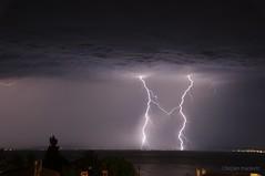 Two dancing lightnings over Sithonia (marbo3d) Tags: vacation sky storm greece lightning kassandra kriopigi