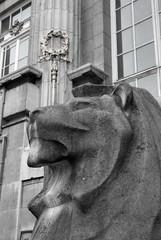 British Museum lion guardian, Montague Place, Bloomsbury, London WC1, UK (Ministry) Tags: uk morning sculpture london statue stone portland pillar lion wreath bloomsbury column britishmuseum ionic wc1e wc1 montagueplace newsculpture