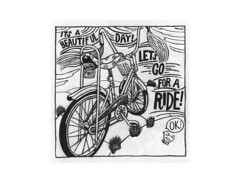 its a beautiful day let's go (Pippypippy) Tags: summer bw bird art bike bicycle pen pencil ink fun spring paint ride stingray tires pony pedals handlebar sharpie schwinn streamers bikeride 1970s gouache ok velo girlsbike vintagebike bikechain bananaseat sissybar artonpaper bikebasket bwart childsbike schwinnhollywood