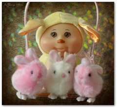 Trevor And The Bunnies-HSS (Jo- Brilliant Sun and Mid 60's Today!) Tags: cute bunnies doll cabbagepatchkid happyeastereveryone nikkormicro105mmlens sliderssunday nikond5100 trevorandthebunnies pinkandwhitebunnies