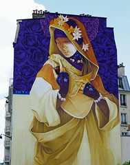 Veiled woman, purple roses - mural on an apartment building in Paris, 13th arr (Monceau) Tags: veiled woman mural mysterious painting purple roses gold apartment building boulevardvincentauriol paris 13tharr