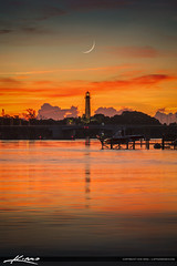 Crescent Moon Over Jupiter Lighthouse (Captain Kimo) Tags: aurorahdr2017 captainkimo florida hdrphotography jupiterlighthouse palmbeachcounty waterway crescentmoon