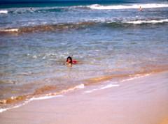 Bert Snorkeling in the Surf - c1983 (kimstrezz) Tags: 1983 familytriptohawaiic1983 hanaleibay kauai