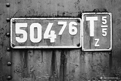 Vintage locomotive sign in black and white (Simeon Donov) Tags: abandoned aged background bdz black border bulgaria compression corrosion design five four frame ghost ghosty gray informational iron locomotive metal narrowgauge nostalgic number old parameters pattern plate pressure railroad retro rivet rivets rust rusty screw screws service seven sign six steam steel symbol texture train transport transportation vintage white zero