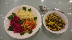 Julia's lamb and kale rice with leftover cabbage salads (avlxyz) Tags: fb leftovers