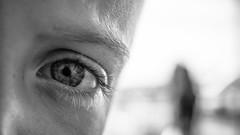Looking Glass (jerryms) Tags: looking glass baltic newcastle boy eye view detail eyelash omd em 5 1240 eyeball contrast black white