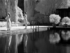 Art class students at pool DSC_5358 (Bruce_of_Oz) Tags: filoli gardens pool digital infrared reflection