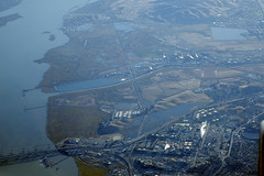 Aerial view of Martinez, the Sacramento River, and Benicia-Martinez Bridge, Contra Costa County, California (cocoi_m) Tags: aerialphotograph aerial martinez sacramentoriver beniciamartinezbridge contracostacounty california nature geology refinery usnavalweaponsstation concord