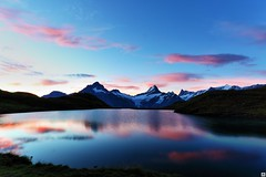 A new day (yves_matiegka) Tags: alps lake reflections clouds mountains sunrise switzerland bachalpsee grindelwald nature water sky hiking