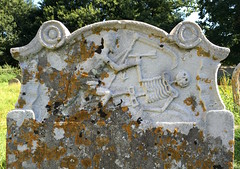 The grimreaper (badger_beard) Tags: stone lichen grave headstone tomb memorial mementomori memento mori skeleton grimreaper reaper grim mortality taphophile churchyard cemetery graveyard scythe death
